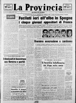 Fucilati in Spagna i cinque giovani oppositori di Franco