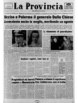 Assassinato  a Palermo a seguito di un agguato mafioso il generale Carlo Alberto Dalla Chiesa