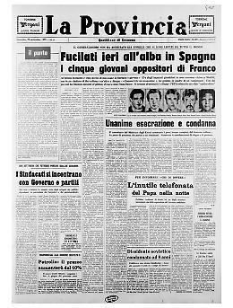Fucilati in Spagna cinque giovani oppositori del generalissimo Franco