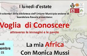 Lunedì 17 alle 21 'La mia Africa' con Monica Mussi