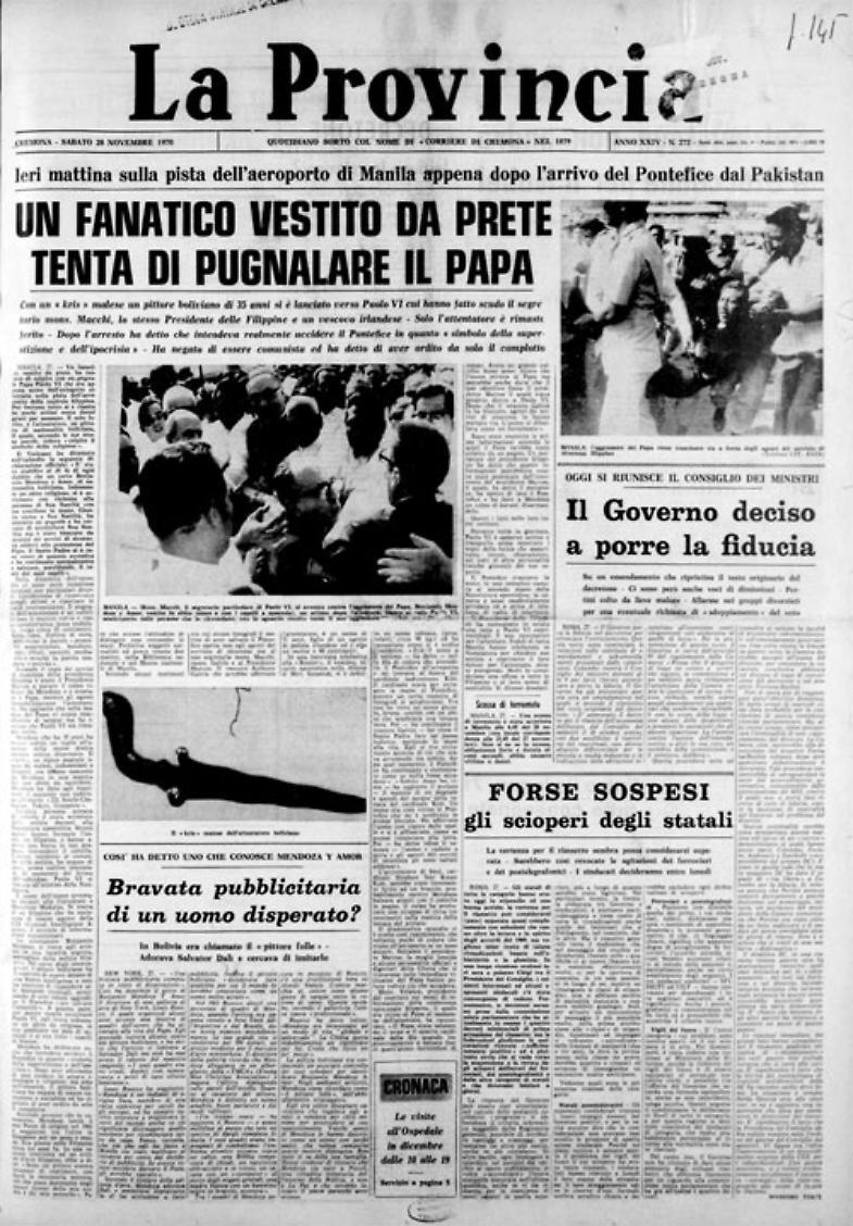 Papa Paolo VI, appena atterrato a Manila, è scampato ad un tentativo di accoltellamento